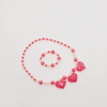 Embellished Pendant Necklace and Bracelet Set