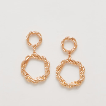 Metallic Dangling Earrings with Pushback Closure