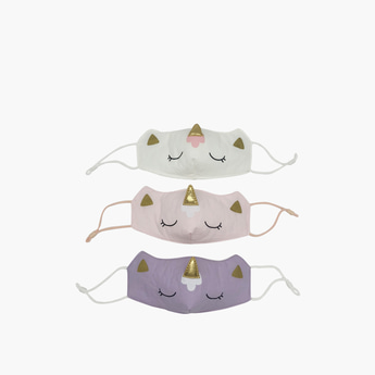 Set of 3 - Printed Anti-Dust Face Mask with Applique Detail