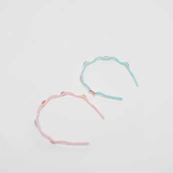 Set of 2 - Hairband with Rainbow and Floral Accents