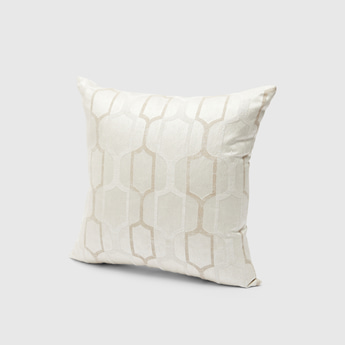 Square Filled Jacquard Cushion with Zip Closure - 43x43 cms