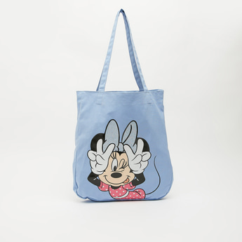 Minnie Mouse Print Shopper Bag with Shoulder Straps