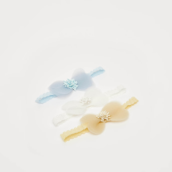 Pack of 3 - Textured Hairband with Lace Detail and Bow Applique