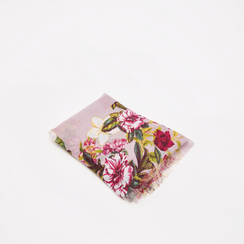 All-Over Floral Print Rectangle Scarf with Fringes