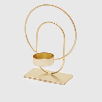 Metallic Candle Holder - 12x6.5x15 cms
