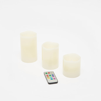 Pack of 3 - Decorative LED Pillar Candles with Remote