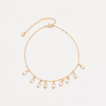 Crystal Studded Anklet with Lobster Clasp Closure