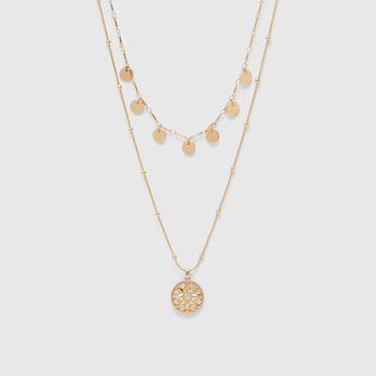 Double Layered Necklace with Pendants