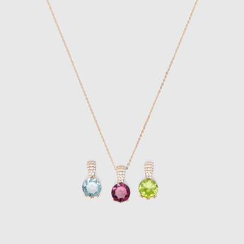 4-Piece Necklace with Stone Pendants Set