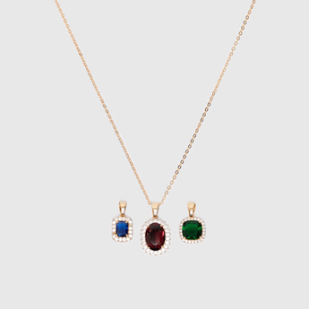 3-Piece Necklace with Stone Pendants Set