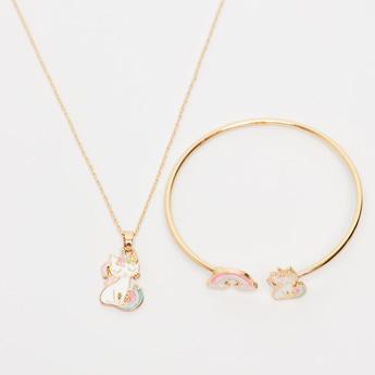 Unicorn Embellished Necklace and Bracelet Set