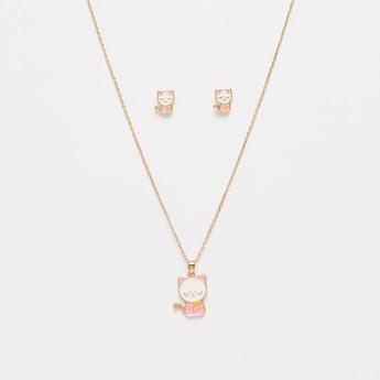 Cat Applique Detail Pendant Necklace and Earrings Set