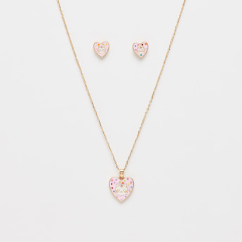 Necklace with Heart Shaped Pendant and Stud Earrings Set