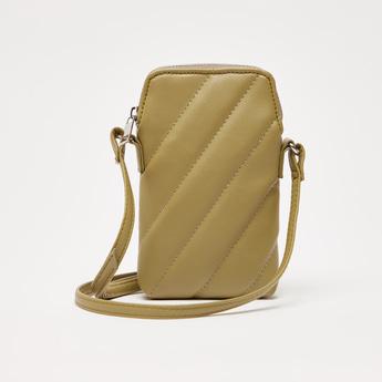 Stitch Detail Crossbody Bag with Zip Closure