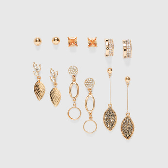 Set of 6 - Stone Studded Earrings