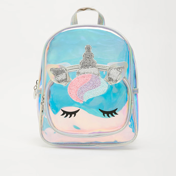 Unicorn Applique Detail Glossy Backpack with Zip Closure
