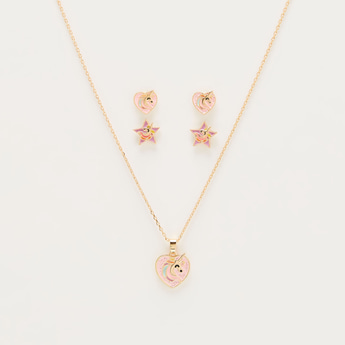 Unicorn Studded Necklace and Earrings Set