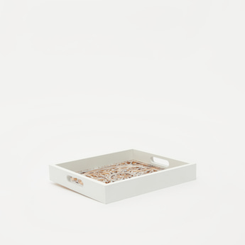 Decorative Wooden Tray with Cutout Handles