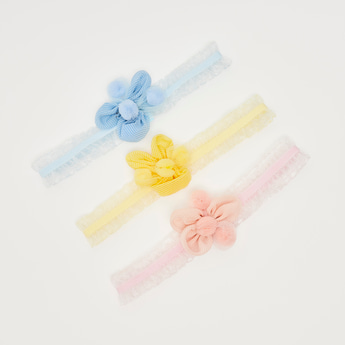 Set of 3 - Flower Applique Detail Hairband