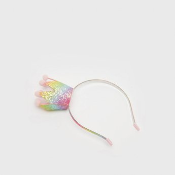 Crown Applique Detail Hairband with Glitter Accent