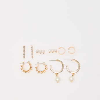 Set of 5 - Embellished Earrings with Pushback Closure