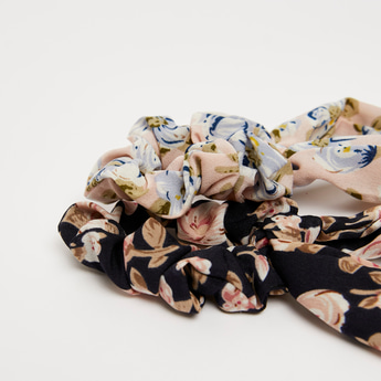 Set of 2 - Floral Print Scrunchie with Tie-Ups