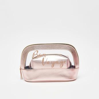 حقيبة صغيرة بتزيينات ميتالك بسحّاب إغلاق- طقم من قطعتين