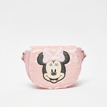 Minnie Mouse Sequin Detail Crossbody Bag with Adjustable Strap