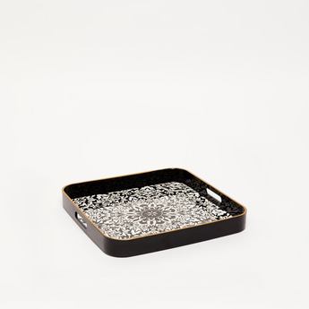 Printed Square Serving Tray with Cutout Handles - 35x35x4 cms