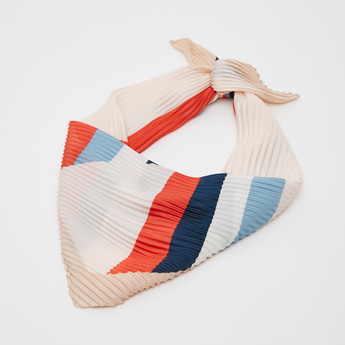 Textured Square Scarf with Stripe Print