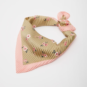 Floral Print Pleated Square Scarf
