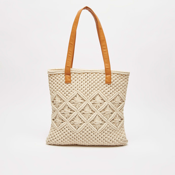 Textured Fabric Tote Bag with Zip Closure