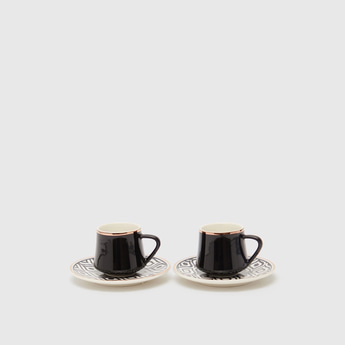 Set of 2 - Printed Expresso Mug and Saucers