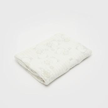 Printed Plush Detail Blanket - 100x75 cms