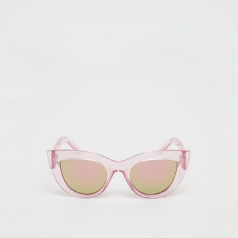 Full Rim Cat Eye Sunglasses with See-Through Frame