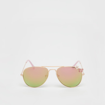 Applique Detail Aviator Sunglasses with Metal Rims