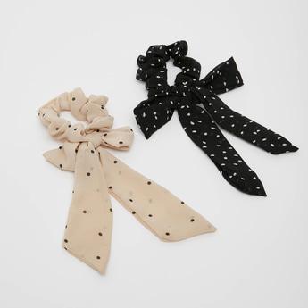 ربطات شعر مستديرة مطاطية بطبعات - طقم من قطعتين