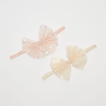 Set of 2 - Bow Applique Detail Hairband