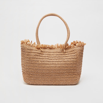 Woven Tote Bag with Double Handles