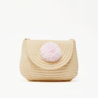 Textured Satchel Bag with Pom Pom Applique