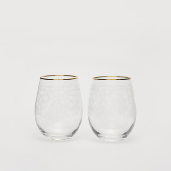 Set of 2 - Printed Transparent Glasses with Gold Rim