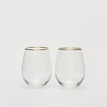 طقم كوب زجاجي  شفاف بطبعات وإطار ذهبي- من قطعتين