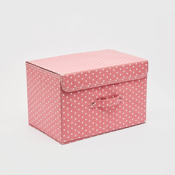 Heart Print Rectangular Storage Box with Handle - 38x25 cms