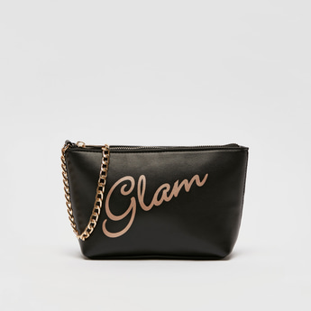 Text Print Pouch with Metallic Chain and Zip Closure