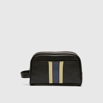 Striped Pouch with Handle and Zip Closure