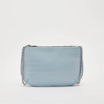 Textured Crossbody Bag with Metallic Chain and Zip Closure