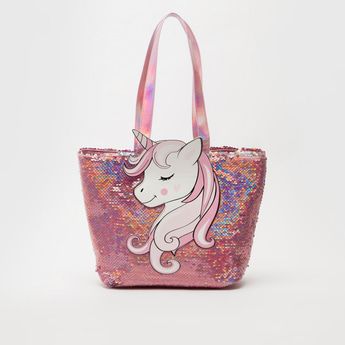 Sequin Detail Tote Bag with Unicorn Applique