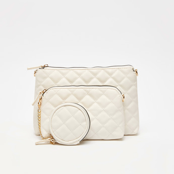 Set of 3 - Assorted Quilted Bag with Zip Closure