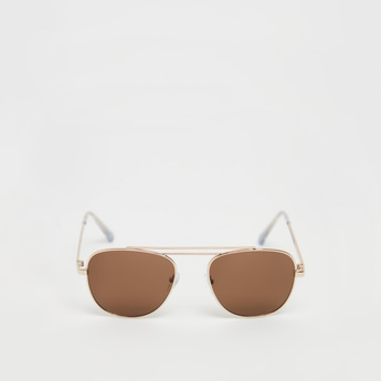 Solid Aviator Sunglasses with Metal Rims