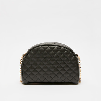 Quilted Crossbody Bag with Metallic Chain Strap